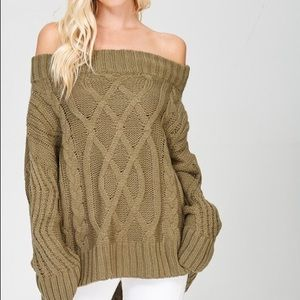 Sweaters - Off The Shoulder Cable Sweater- OLIVE